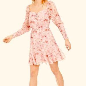 BAR III Dress Petal Pink Bishop Smock Sleeve NWT M